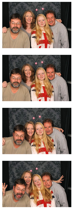 My ex-husband Buzz, me, my daughter and Tom acting like a bunch of idiots in the photo booth.